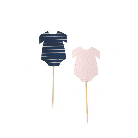 Pink, Blue & Gold Baby Grow Baby Shower / Gender Reveal Cupcake Topper